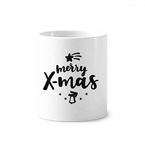 DIYthinker Merry X-Mas Kerst Quote Tandenborstel Pen Houder Mok Wit Keramische Beker 350ml 4 inch hoog x 3 inch Diameter Multi kleuren.