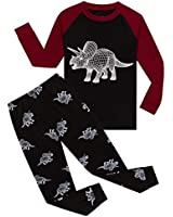 Dinosaur Big Boys Long Sleeve Glow in The Dark Pajamas Sets 100% Cotton Pyjamas Kids Pjs Size 8 Black