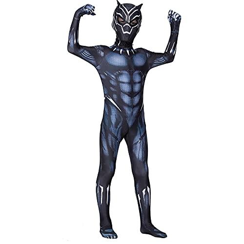 MIANslippers Black Panther Cosplay Disfraz de Pelcula Superhroe Fans Avengers Bodyuit Carnival Fancy Dress Dumpsuit Halloween Fiesta Nios Medias,Black-Kids/S(90~100cm)