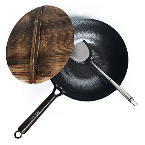 Carbon Steel Wok for Electric, Induction and Gas Stoves (Lid, Spatula and User Guide Video Included)