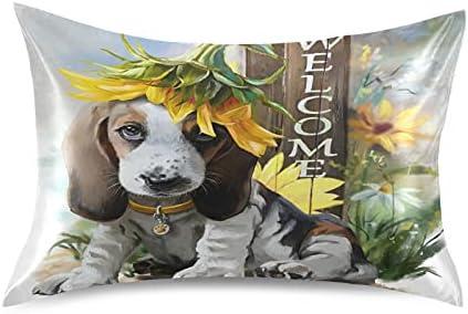 Meetutrip Cute Dog Indefinitely Credence Animal Satin Pillowcase Covers Envelope Closu