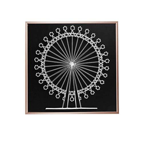 Ferris wiel diy garen schilderij driedimensionale nagel wikkeling foto handgemaakte string zijde schilderij roze goud fotolijst 30 * 30cm
