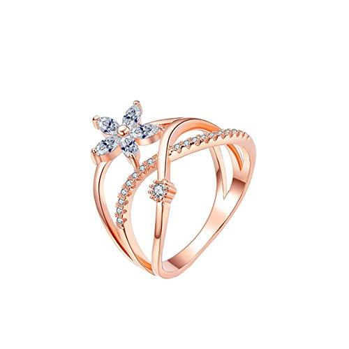 Qinlee Ringe Bandring Kristall Blumen Stil Ringe klassisch Motivring Hochzeiten Bankette Jahrestag Valentinstag Schmuck Mode Geschenk für Damen Mädchen (Roségold 6)