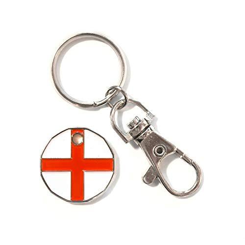 Lot de 12 (douzaine) porte-clés pour caddie de la croix de Saint-Georges pour caddie de courses, casier, etc.