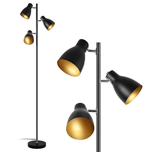 Eusamxon 3 Lights Floor lamp Rotatable for Living Room,Retro Industrial Floor lamp Black -Golden Adjustable Standing Reading Floor Lamps|E27 Socket Max. 25W*3 | 166cm