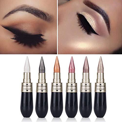 2 en 1 Traceur liquide noir Ombre à paupières Crayon Waterproof Long Lasting Quick Dry Facile à porter le maquillage des yeux naturels TSLM2