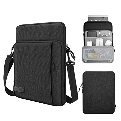 MoKo 13.3 Inch Laptop Sleeve Bag Carrying Case with Storage Pockets Fits Macbook Air Retina 13.3 2018, Macbook Air 13.3 2019/2020, MacBook Pro 13.3 2020, iPad Pro 12.9' 2018/2020, Black & Gray