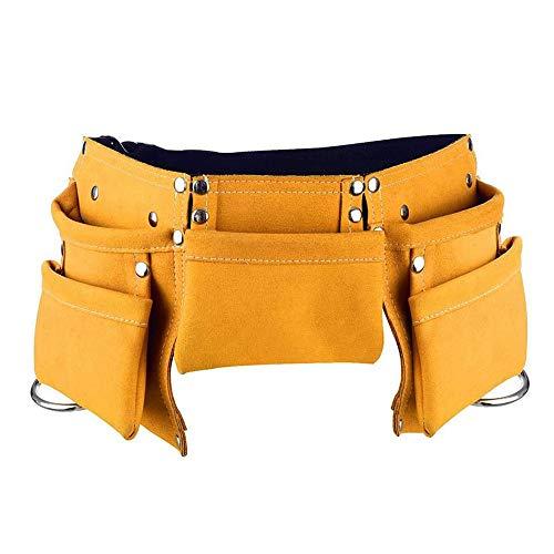 (Yellow) - Children's Leather Tool Belt, DesignerBox Kids Leather Working Tool Belt Child's Tool...
