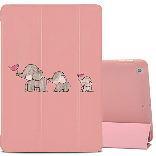 LuGeKe Case for iPad 10.2 Inch 2019 (7th Generation), Trifold Slim Stand Protective Cover, with Soft TPU Back Cover Supports Auto Wake/Sleep, Pink, Cute Elephant