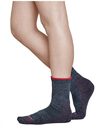 vitsocks Calcetines Antiampollas Lana Merino Trekking Mujer, Senderismo Calientes, gris-borgoña, 35-38