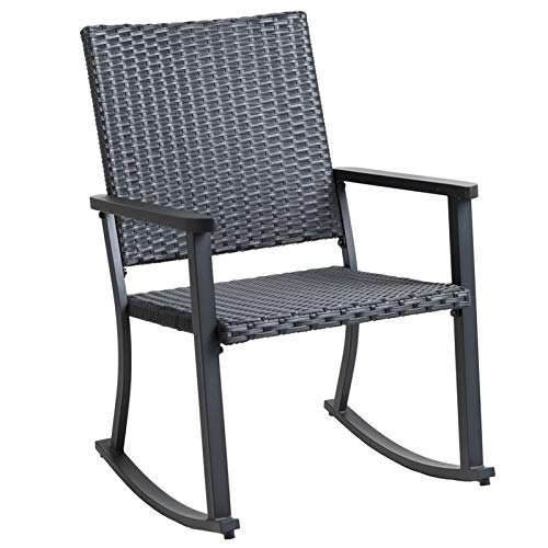 C-Hopetree Outdoor Rocking Chair for Outside Patio Porch, Metal Frame, Black All Weather Wicker