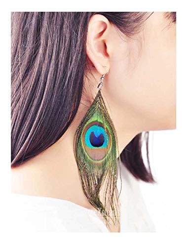 LittleB Peacock Feather Earrings Vintage Drop Earrings Long Earring Dangle Feather Jewelry for Women and Girls
