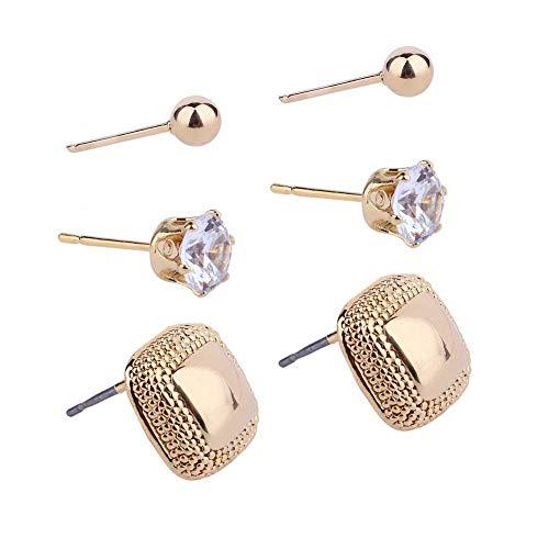 Conjunto de 3 pares de pendientes de aleación chapados en oro rosa para mujer, diseño sencillo y colorido, diseño de hojas de animales, estrellas, falsas perlas