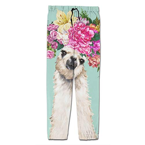 Youth Sweatpants 3D Print Flower Crown Llama Garland in Green Jogger Pants Baggy Casual Trousers with Drawstring 10-12 Years