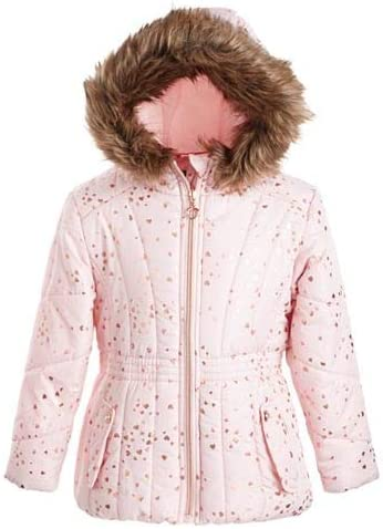 S Rothschild & CO Little Girls Hooded Foil-Print Jacket with Faux-Fur Trim Size 4 Blush Rose