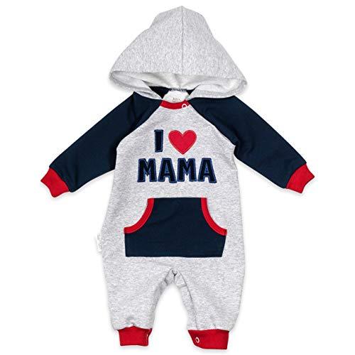 Baby Sweets Baby-Overall in Hellgrau, Navy & Rot als Baby-Kleidung für Mädchen & Jungen im I Love Mama Motiv/Baby-Strampler mit Kapuze/Erstausstattung für Neugeborene & Kinder/Größe Newborn (56)