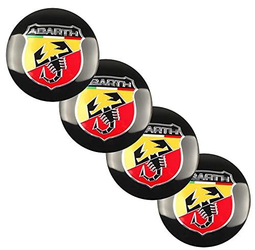 LINMAN 4 unids/PCS 56mm Coche de Rueda de automóvil Cap Tap Tap Cover Sticker Badge Calcomanía, Compatible con Fiat 500 Punto Bravo Stilo