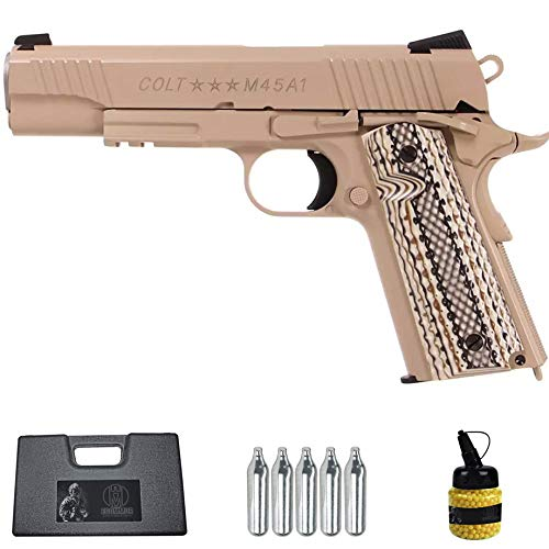 Pistola Colt M1911 Rail Gun Tan blowback CO2 (6mm) | Arma Corta de Airsoft (Bolas de plástico) + maletín PVC + biberón [442 FPS]