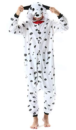 Jumpsuit Onesie Tier Karton Kigurumi Fasching Halloween Kostüm Lounge Sleepsuit Cosplay Overall Pyjama Schlafanzug Erwachsene Unisex Beschmutzter Hund for Höhe 140-187CM Damen Herren