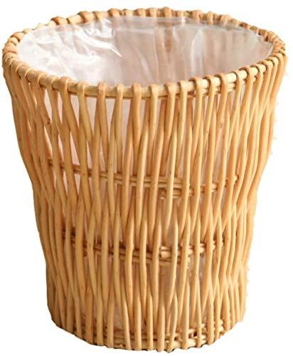 Bin rotan Vintage Color Can cilindrische zonder vuilnisbak gevlochten Canvas papier, WC-opslag emmer trash Pure Woven Hand (Kleur: A) Kleur: A (Color : C)