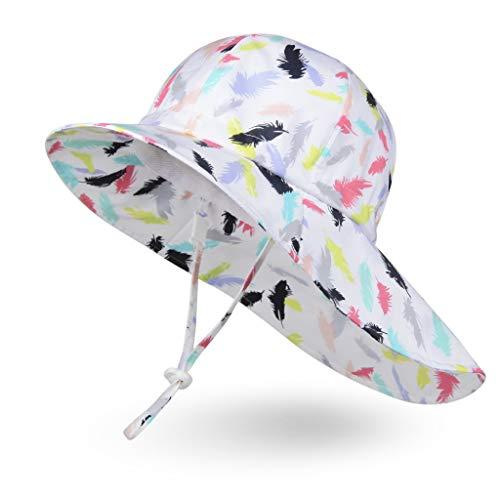 Ami&Li Bébé Chapeau Cou Protection Enfants Coton Anti-UV UPF 50 Chapeau de Soleil Fille Garçon Nourrisson Tout-Petit - S: Plumes colorés