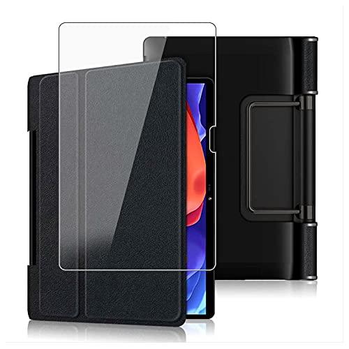 HHUAN Funda + Protector Pantalla para Lenovo Yoga Pad Pro 13' Pulgadas YT-K606F, con Soporte y Función Auto-Sueño/Estela Protectora Carcasa Case + 9H Dureza Cristal Templado - Black