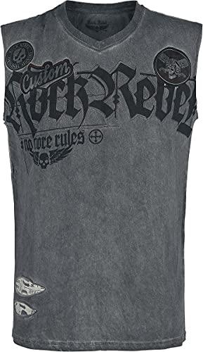 Rock Rebel by EMP Graues Tank-Top mit Waschung und Print Männer Tank-Top grau XXL