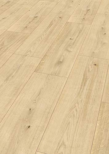 Egger Comfort-Design Korkboden braun in Holzoptik, Murana Eiche hell EHC019 (8mm, 2,54m²/Pkt.) Designboden Kork Laminat mit Trittschalldämmung-warm & leise