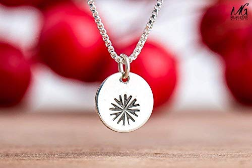 Snowflake Charm Necklace in Sterling Silver - Christmas Holiday Jewelry