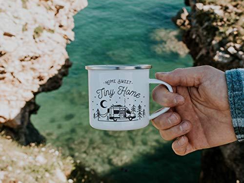 Taza de camping de 10 onzas para el hogar dulce pequeño esmalte taza personalizada Van Life regalos para campistas Rv accesorios decoración de campervan rv vida campamento taza regalo