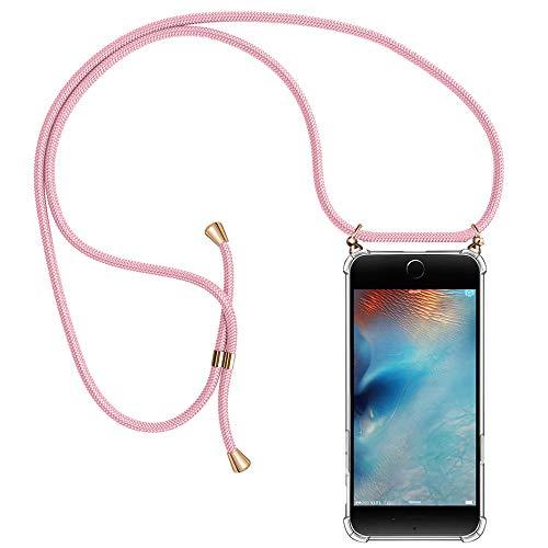Migimi Handykette iPhone SE 2020, Handyhülle iPhone 7/8 mit Umhängeband Silikon Schutzhülle mit Band, Halsband Hülle mit Kordel Necklace Case mit Schnur Umhängen Handy-Kette für iPhone 7/8/SE- Rosa