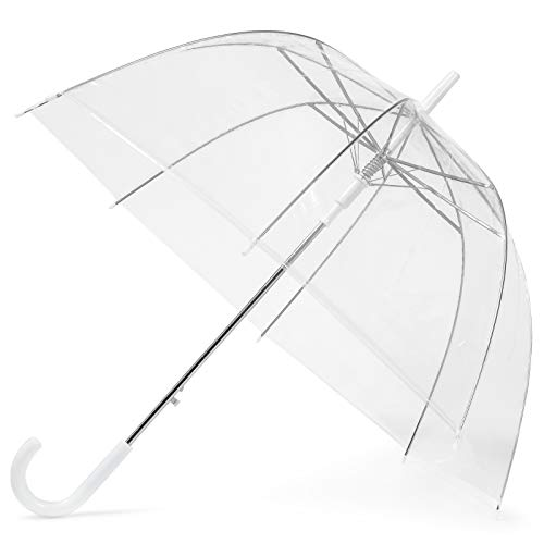 GadHome Transparent Umbrella | Large 85cm Clear See Through Dome Umbrellas for Women, Wedding, Bridal Party Photoshoot | Lightweight Translucent Automatic Foldable Umbrella with White C Handle