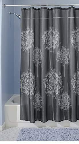 mDesign Duschvorhang - Größe: 200 x 180 cm, Farbe: Dunkelgrau - Wasserabweisend - Vorhang Badezimmer - Dusche Badewanne - Leicht zu pflegen