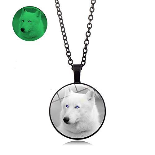 SHOYY Collar con colgante de aleación de cristal con diseño de lobo clásico que brilla en la oscuridad, para mujeres y hombres, decoraciones de joyería punk (color de metal: chapado en zinc azul)