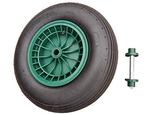 Frosal Schubkarrenrad 400 mm inkl. Achse | mit Schlauch | Rad Luftrad Schubkarre | Ersatzrad 4.80/4.00-8 Kunststoff-Felge grün | Reifen 100 mm Breite