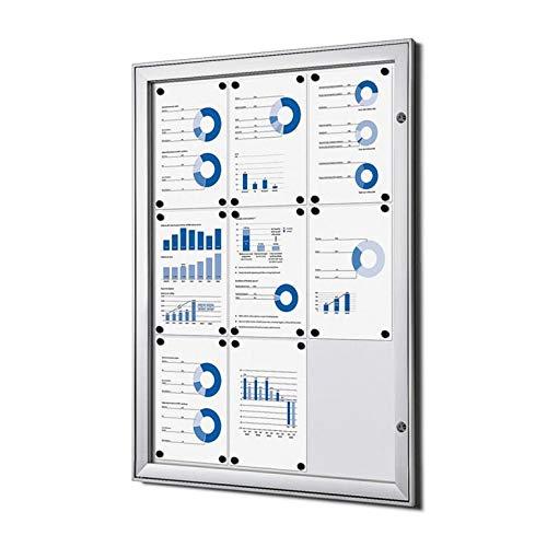 Escaparate 9 X A4 Aluminio Cuadro de Información Escaparate de Cartel Resistente a la Intemperie Exterior 9xA4