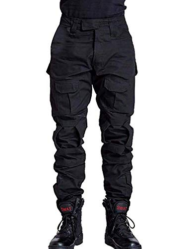TRGPSG Men's Military Tactical Pants Casual Camo BDU Cargo Pants Work Trousers with 10 Pockets WG3F Black 32