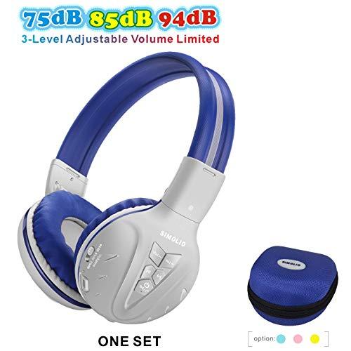 SIMOLIO Kinder Kopfhörer Bluetooth mit 75dB/85dB/94dB Volume Limited, Kinder Wireless Headsets mit Mikrofon, Drahtlose Kinder-Kopfhörer, Bluetooth-Kopfhörer mit EVA Hardcase für Jungen für Reise -Grau