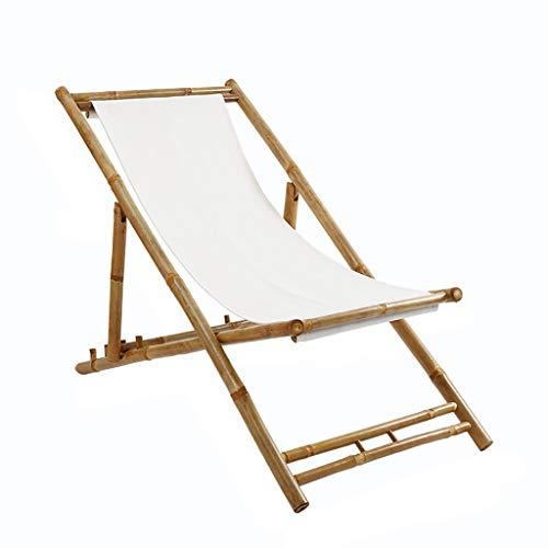 Outdoor klapstoel stoel Lounger,bamboe klapstoel voor vrije tijd Balkon Office Single Siesta Draagbare Outdoor Beach Stoel - wit/zwart