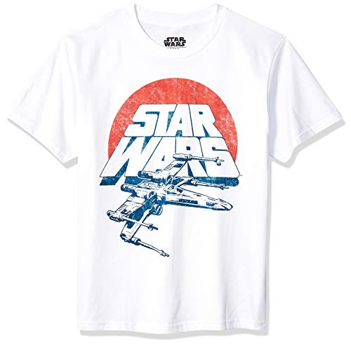 Star Wars Boys' Big Vintage Inspired X-Wing Fighter T-Shirt, White, Extra Small