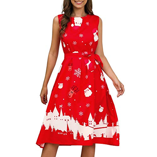 litty089 Herfst Winter voor Lady Ornament, Delicate Sneeuwvlok Kerstman Patroon Print O Nek Mouwloos, Een Lijn Midi Jurk, Decor voor Kerstmis Kostuum