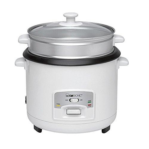 Clatronic RK 3566 Reiskocher und Dampfgarer in Einem, herausnehmbarer Topf (antihaft-beschichtet), automatischer Warmhaltemodus, weiß