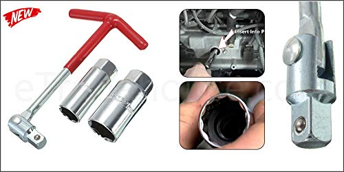 K&F Kit de poignée en T solide avec outils de 16 mm + 21 mm + clé d'allumage pour remplacer la douille de bougie de voiture moto ATV Quad