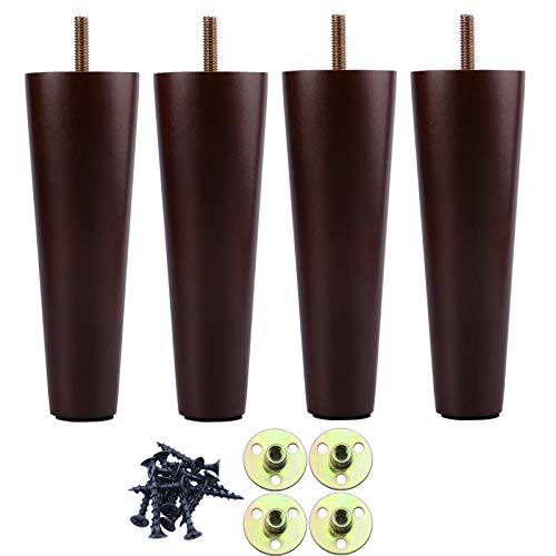 8 Inch Wood Furniture Legs Sofa Legs Set of 4, Brown Wooden Furniture Feet Couch Legs, Mid Century Modern Dresser Replacement Feet for Chair Cabinet Armchair Table Or Home DIY Projects Bun Feet