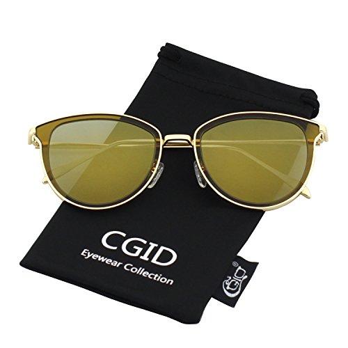 CGID MJ85 Retro Polarizado Gafas de Sol Doble Círculo Espejo UV400 Marco Metálico de la lente
