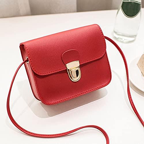 QiKun-Home Mini Bolso pequeño portátil para Mujer, Bolso pequeño a la Moda, Bolso pequeño, Rojo