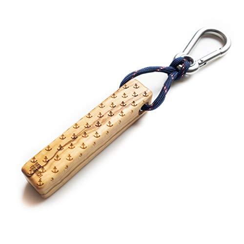 Van Branch Schlüsselanhänger aus Holz mit kleinem Karabiner - Handgefertigter Schlüsselbund für Männer und Frauen mit Anker Gravur - Tolles Geschenk für sie und ihn - Key Organizer