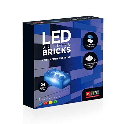 STAX Beginner Matt, S-12025, LED Klemmbausteine, kompatibel mit Allen bekannten Bausteinmarken, 24 STAX Bricks Formaten, aufladbarer Mobile Power Brick und USB-Kabel, Mehrfarbig