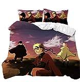 Anime Bettwäsche, Bettwäsche-Set 2-teilig, Bettwäsche Naruto, HD-Druck, Bettwäsche Anime, Bettwäsche für Kinder, mit Reißverschluss, Bettwäsche Junge Leute, Gr. 135x200 cm (Naruto 1)