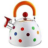 WPHGS 2. 6QT silbido té hervidor de té Lindo Color lunarizado Kettle fogones hervir Agua Tetera Moderna Acero Inoxidable té Tetera for Cocina Cocina